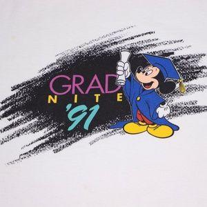 Shirts - DISNEY Grad Night 1991 Made in USA White tee
